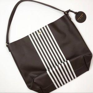 Henri Bendel Signature Stripe Brown Tote Bag